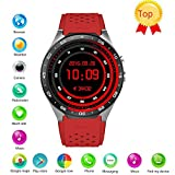 Efanr KW88 Round Bluetooth Smart Watch Unlocked Android 5.1 Wrist Phone Nano SIM 3G WIFI 2.0MP Camera Touchscreen Smartwatch Call Heart Rate Monitor Pedometer for Android Samsung IOS iPhone (Red)