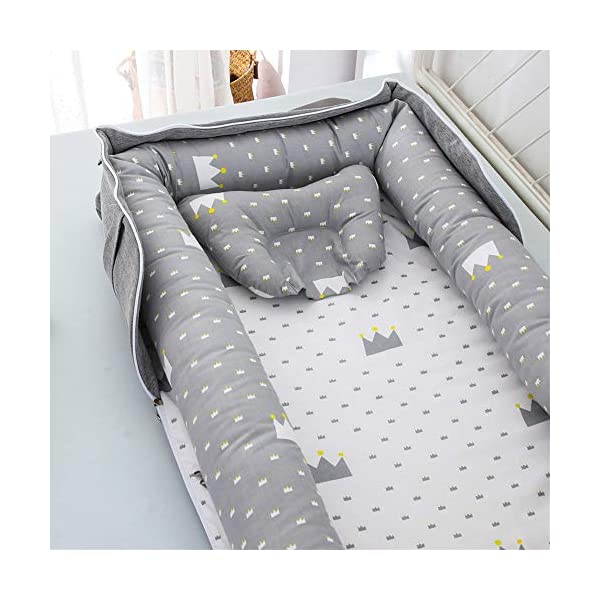 Baby Lounger Nest Bassinet for Bed, Portable Baby Co-Sleeping Cribs & Cradles for Bedroom and Travel, 100% Soft Cotton Baby Bed (Crown Bag)