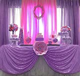 QueenDream Glitter Tablecloth 50''x80'' Light Purple Sequin Tablecloth for Wedding Reception Party and Home Decoration
