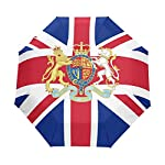 Travel Umbrella Auto Open Compact Folding Sun & Rain Protection London British Flag National Emblem