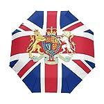 Travel Umbrella Auto Open Compact Folding Sun & Rain Protection London British Flag National Emblem
