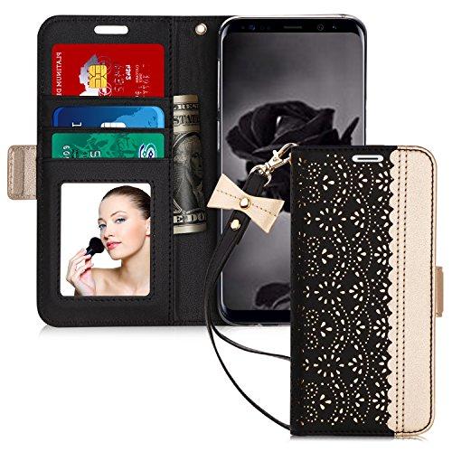試験安全順応性Samsung Galaxy S9 Plus ケース,WWW [透かし彫り模様] PUレザー 横開き 手帳型 カード入れ ストラップ付き 化粧鏡 スタンド機能 マグネット開閉 保護カバー ブラック