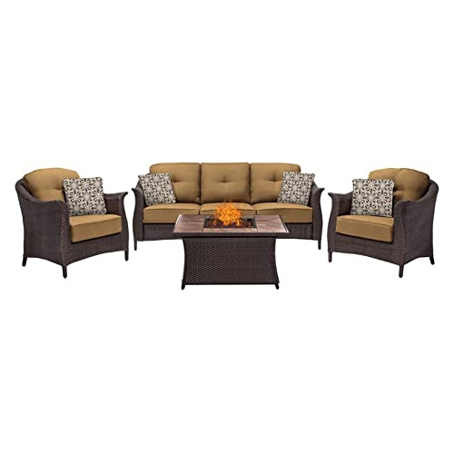 Hanover GRAM4PCFP-TAN-TN 4 Piece Gramercy Woven Fire Pit Set in Country Cork