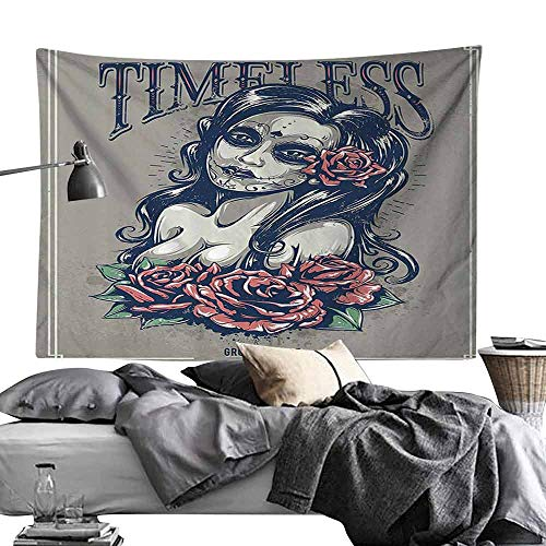 Homrkey Decorative Tapestry Skulls Decorations Collection Day of Dead Girl with Tattoos on Her Face Roses Lady Witch Woman Timeless Sign Art Hippie Tapestry W90 x L59 Grey Black ()