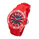 AUPO Quartz Watches, Roman Digital Casual Fashion Solar Analog Watch Waterproof 30m Waterproof Comfort Silicone Watch(red)
