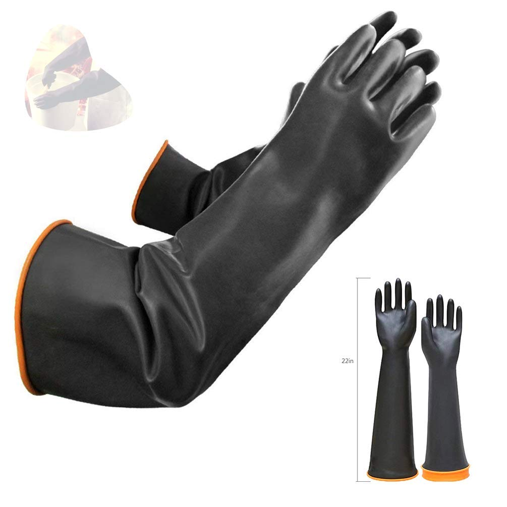 """Latex Chemical Gloves Resistant Rubber PPE Industrial Safety Work Protective Long Gauntlets Gloves, 22"""" Black Heavy Duty Gloves, Resist Strong Acid, Alkali and Oil"""