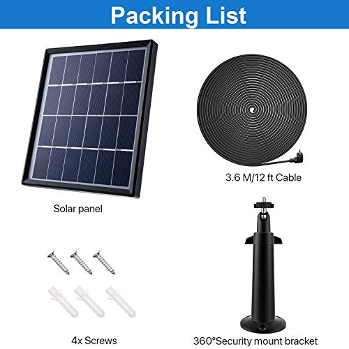ASC Solar Panel for Ring Stick Up Cam Continuously with 5 m//16.4 ft Power Cable