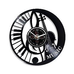 Kovides Violin Music Wall Clock 12 Inch Music Vintage Clock Music Retro Clock Vintage Vinyl Record Retro Wall Clock Music Art Birthday Gift Violin Music Gift New Year Gift Handmade Wall Clock