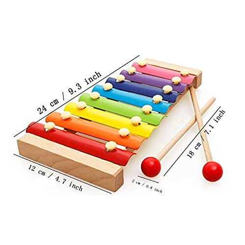 V-Best Wooden Xylophone Baby Musical Toy Instrument Piano with 8 Colored Metal Key with 2 Child-Safe Mallets,Perfectly Tuned Instrument for Toddlers with Clear Sounding Metal Keys. (Xylophone Toy Musical Wooden)