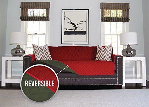 The Original SOFA SHIELD Reversible Furniture Protector, Features Elastic Strap (Red Seat Liner)