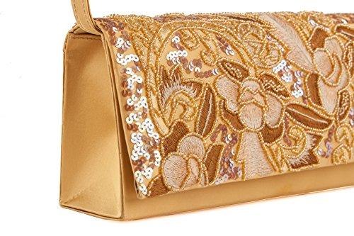 Pochette AC 192 Camel, borsetta in tessuto con ricami in jaiss e paillettes