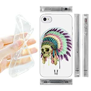 Head Case Designs Skull Native Headdress Gel Back Case Cover for Apple iPhone 4 4S