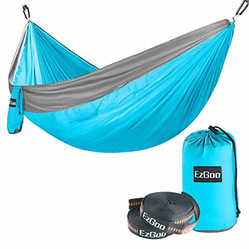 EzGoo Camping Hammock, Double Hammock Portable Nylon Taffeta for Outdoor Travel - Sky Blue & Gray