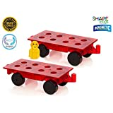Magnetic Stick N Stack Wheel Base with 4 Wheels SET OF 2 - view all photos (Magnetic tiles compatible)