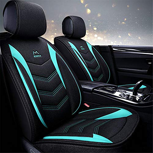 Sedan Green - YJF-QCZT Car Seat Cover Leather and Linen Sedan All-Inclusive Seat Cover Four Seasons Universal for Most Five-Seat Sedan,Green