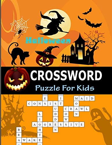 Halloween Crossword Puzzle For Kids: Larg-Print 45 Puzzle Easy Games Words Crossword collection -