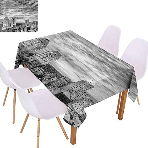 UHOO2018 Black and White,Everyday Kitchen Tablecloth,Skyline Rooftop View of New York in Cloudy Day Panoramic Bust Cityscape,Waterproof and Spillproof,Black White,70