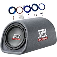 MTX RT8PT 8 240 Watt Amplified Loaded Subwoofer Tube Audio Set w 8 Ga. Amp Wiring Kit