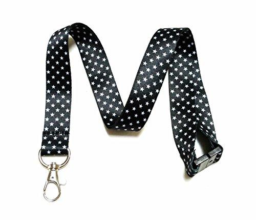 (Break Away Black & White Print Lanyard Key Chain Id Badge Holder (Stars))