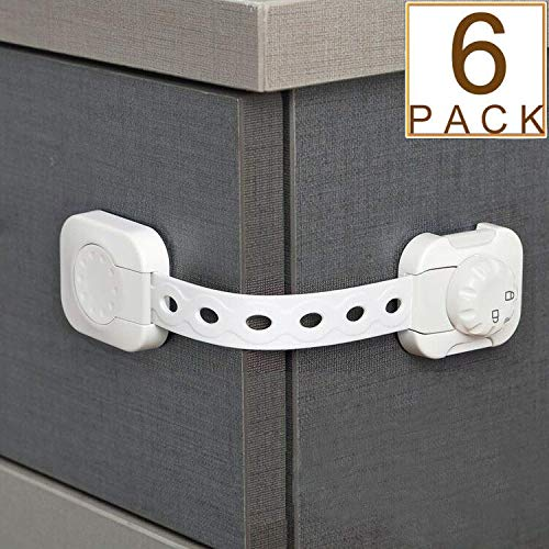 Improved Baby Proofing Cabinet Locks Child Safety - Adjustable Strap Latches to Cabinets, Drawers, Cupboard, Oven, Fridge, Toilet Seat and More - No Drilling Needed - 3M Adhesive (White, 6) from HEOATH