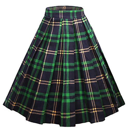 Dressever Women's Vintage A-line Printed Pleated Flared Midi Skirts Plaid (Green and Navy) -