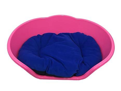Extra grande rosa plástico perro cama con cojín azul/Heavy Duty – Cama de mascota