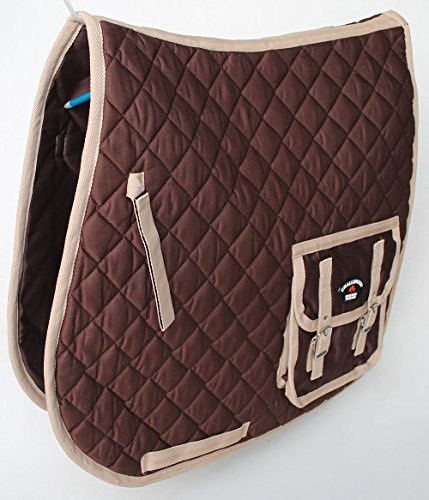 Brown English Saddle (Horse Quilted Aussie Australian ENGLISH SADDLE PAD 2 Pockets Dressage Brown 7268)