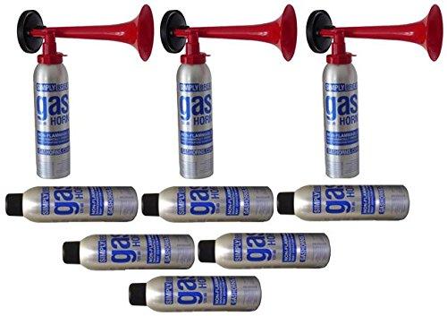 ORIGINAL Simply Fanpaket 11-3 Hupen komplett 6 Nachfüllflaschen die Top Hupe Fanfare Tröte Drucklufthupe EU Gesetz komform sehr UMWELTFREUNDLICH 120 db Simply/Marco