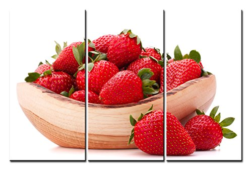Bowl Canvas Print (SmartWallArt - Food Paintings Wall Art a Wooden Bowl of Strawberries 3 Panels Picture Print on Canvas for Modern Home Decoration)