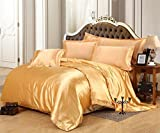 Morning Spa Ultra Soft Luxurious Satin 3-Peice Duvet Set (1 Duvet Cover and 2 Pillowcases) Super Silky Vibrant colors like Gold, Full/Queen