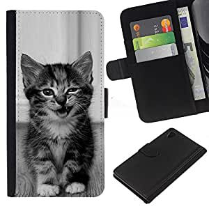 [Neutron-Star] Modelo colorido cuero de la carpeta del tirón del caso cubierta piel Holster Funda protecció Para Sony Xperia Z4v / Sony Xperia Z4 / E6508 [Kitten Cute Wink Meow Black White Pet]