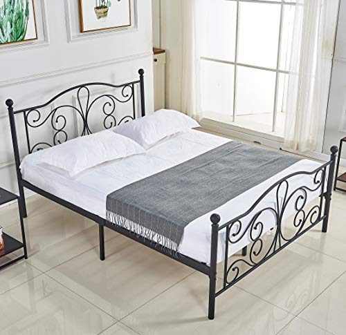 Queen Bed Frame, Platform Metal Bed Frame Foundation Queen Size with Headboard and Footboard DS-09 Queen