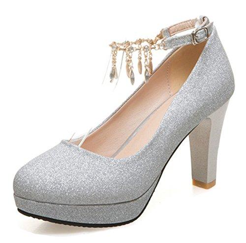 Aisun Women's Rhinestone Low Cut Buckled Dressy Almond Toe Chunky High Heel Platform Ankle Strap Pumps Shoes (Silver, 6.5 B(M) ()