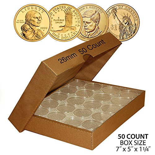 (50 PRESIDENTIAL $1 Direct-Fit Airtight 26mm Coin Capsule Holder (QTY: 50) w/ BOX)