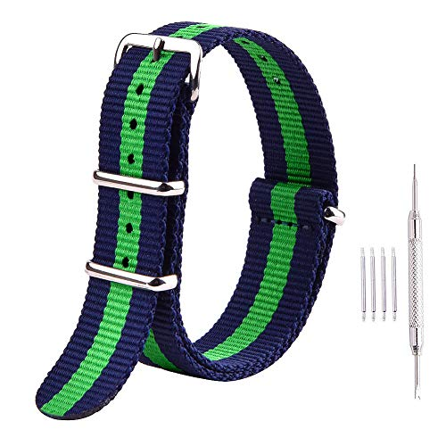 (Ritche Premium NATO Strap 18mm 20mm 22mm Nylon Replacement Watch Band for Men Women (Blue/Green, 22mm) )