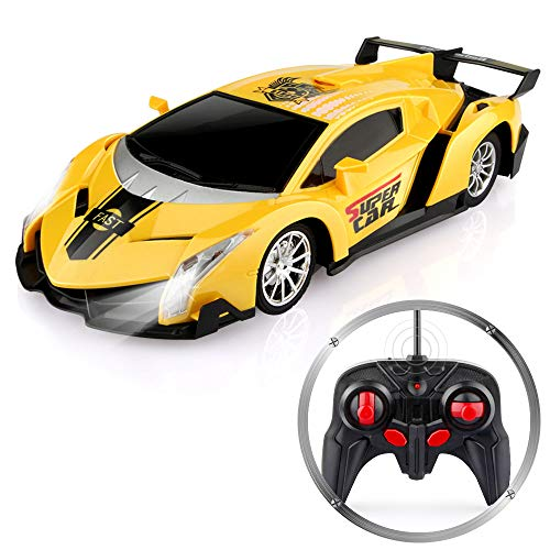 Baztoy Remote Control Cars 27MHz High Speed RC Car Toys 1:24 Scale Electric Fast Sport Racing Yellow Model Vehicle Best Boys Gifts for Children with LED Headlight and Controller for 4-14 Year Old Kids