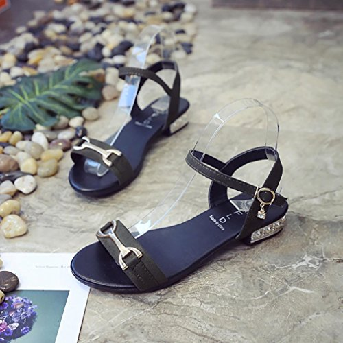 Fheaven Womens Sandals Shoes Summer Peep-toe Flats Beach Shoes Verde