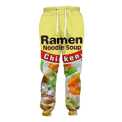 3D Ramen Chicken Noodle Soup Beef Pant Food Funny Trousers Men Women Cotton Novelty Pants at Men's Clothing store