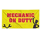 Mechanic On Duty ! #2 Outdoor Fence Sign Vinyl Windproof Mesh Banner With Grommets - 2ftx3ft, 4 Grommets