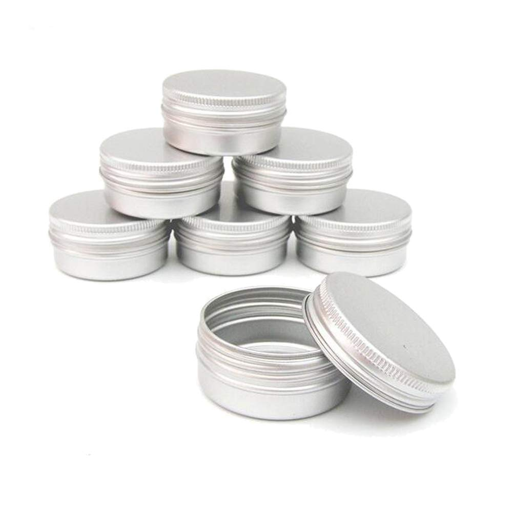 12PCS (60ML/ 2oz) Silver Empty Round Aluminum Tin Cases Matel Make up Sample Jars Storage Can Containers With Twist Screw Cover Travel Can for Tea Powder Lip Balms Cream Candle Crafts Jewelry