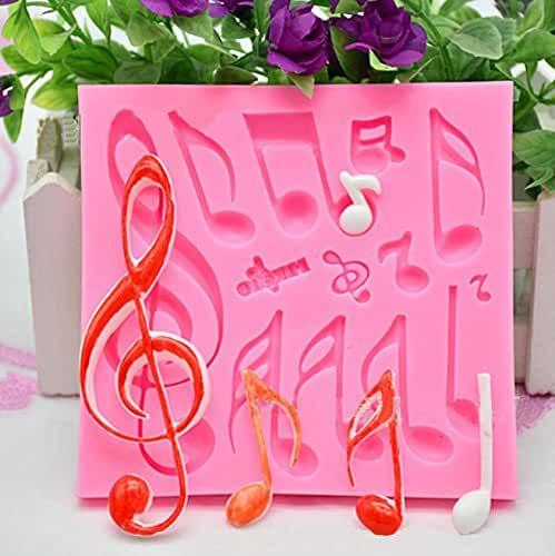 KOOTIPS DIY Large Music Note Cookie Cutter Cake Silicone Mould Fondant Sugarcraft Cookie Plunger Cutter Mold Decorating Tools