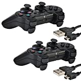 Kabi 2 Pack Bluetooth Wireless Controller for PS3 Controller Double Shock Gamepad 6-Axis Game Controller for Playstation 3 Bonus 2 Charging Cable by Black+Black Review