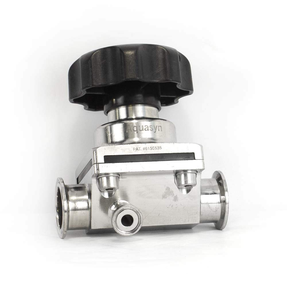 Aquasyn 1.5 316L GMP Diaphragm Valve w// .5 Sample Port TriClamp