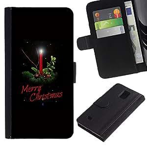 iKiki Tech / Cartera Funda Carcasa - Christmas Winter Holidays Black Candle - Samsung Galaxy Note 4 SM-N910F SM-N910K SM-N910C SM-N910W8 SM-N910U SM-N910