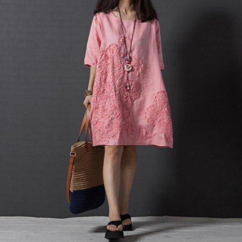 lache EUZeo Dress Ample Coton de Lin et Braderie dcontracte d't Plage Bohe Rose en pour Robe de 01 Robe Robe Robe Robe Femme Mode qTxwqd4r