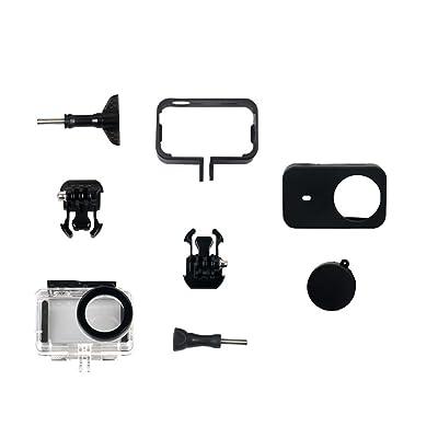Kingwon kit d'accessoires de protection pour Xiaomi Mijia 4K Mini caméra d'action–45m Housse étanche + Support Cadre boîtier Shell + étui souple en silicone Skin + Bouc