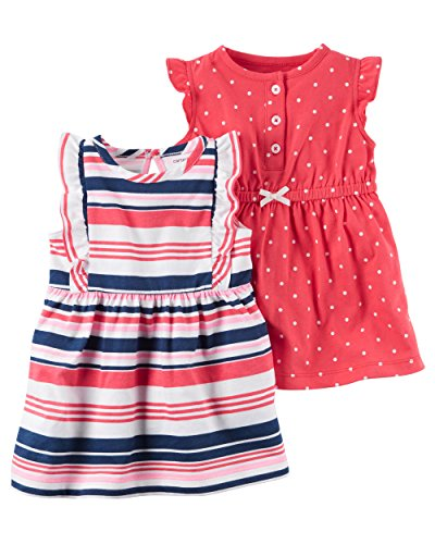 Carter's Baby Girls' 2-Pack Jersey Summer Dresses Multi Stripe 3M