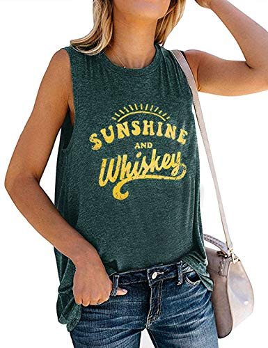 - Drinks Well with Others Tank Top Women Sleeveless Letters Print Tops Casual Black T-Shirt Blouse Size S (Green)