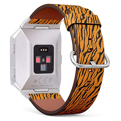 (Compatible with Fitbit Ionic Leather Watch Wrist Band Strap Bracelet with Stainless Steel Clasp and Adapters (Stripe Animals Jungle Tiger Fur))