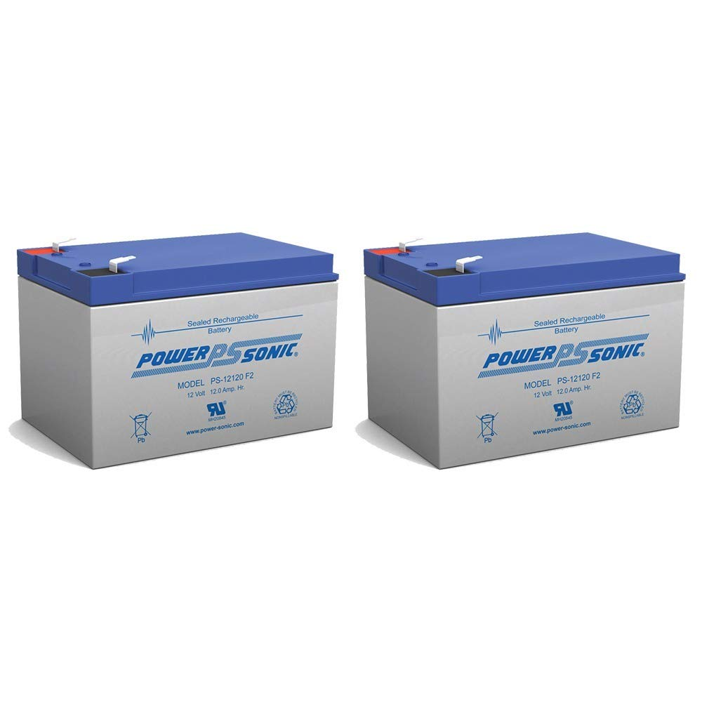 BATTERY REPLACEMENT for POWER-SONIC PS-12120F2 PS-12120 F2,12V 12AH EA. - 2 Pack by Power Sonic
